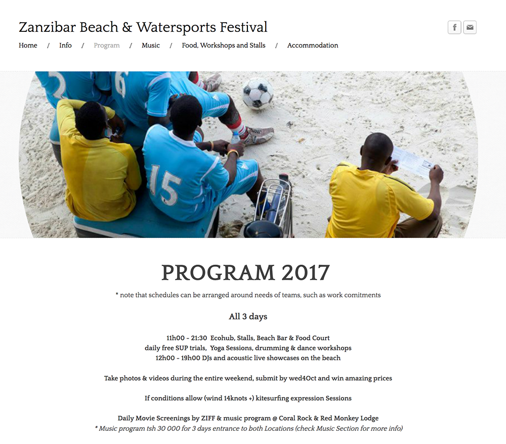 Zanzibar Beach and Watersports Festival program